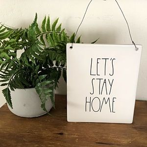 """RAE DUNN """"Lets Stay Home"""" Decor Ceramic Hang Sign"""